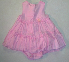 Girl's Size 3/6 M Months 2 Pc Pink Linen Dress & Bottom Outfit TCP Baby Luxuries - $8.50