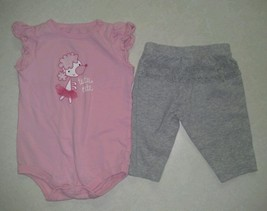"Girl's Size 3 M 0-3 Months ""Tutu Cute"" Ballet Dog Top & Gray Pant 2 Piec... - $9.00"