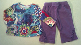 Girl's Size 6-9 M Month 2 Pc The Children's Place Top, Pant Outfit Bright Floral - $9.00