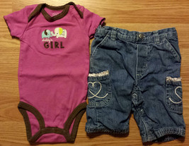"""Girl's Size 3 M 0-3 Months 2P Carter's Purple """"Daddy's Girl"""" Elephant To... - $9.00"""