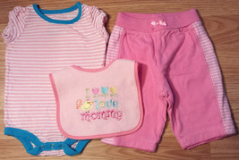 Girl's Size 3 M 0-3 Months 3 Pc Pink Striped Top Place Pink pants & Love Mom Bib - $9.00