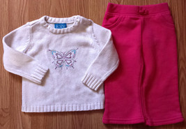 Girl's Size 12 M 9-12 Months 2P White Children's Place Butterfly Sweater & Pants - $9.00
