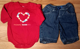 Girl's Size 0-3 M Months 2 Pc Red Floral Mommy Loves Me Circo Glitter To... - $9.00