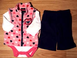 Girl's Size NB Newborn 3 Pc Faded Glory Pink Fleece Heart Vest, Top & Navy Pants - $9.00