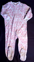 Girl's Size 2T 2 T One Piece Old Navy White/ Pink Fleece Footed Pajama F... - $7.00