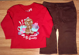 Girl's Size 12 M 9-12 Months 2 Pc Red TCP Too Sweet Gingerbread Girl Top, Pants - $10.50