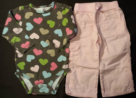Girl's Sz 18 M Months Two Pc Brown Heart Carter's Top & Pink Place Eyelet Pants - $11.00