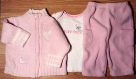 Girl's Size 6 M 3-6 Months 3 Pc Pink Chenille Heart Place Jacket, Top & ... - $11.00