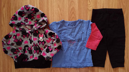 Girl's Size 18 M Months 3 Pc Gray Minnie Mouse Jacket, Chaps Top & George Pants - $10.00