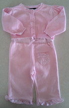 Girl's Size 3-6 M Months 3 Pc Outfit Pink Cardigan, Striped Top & Pants Outfit - $10.00