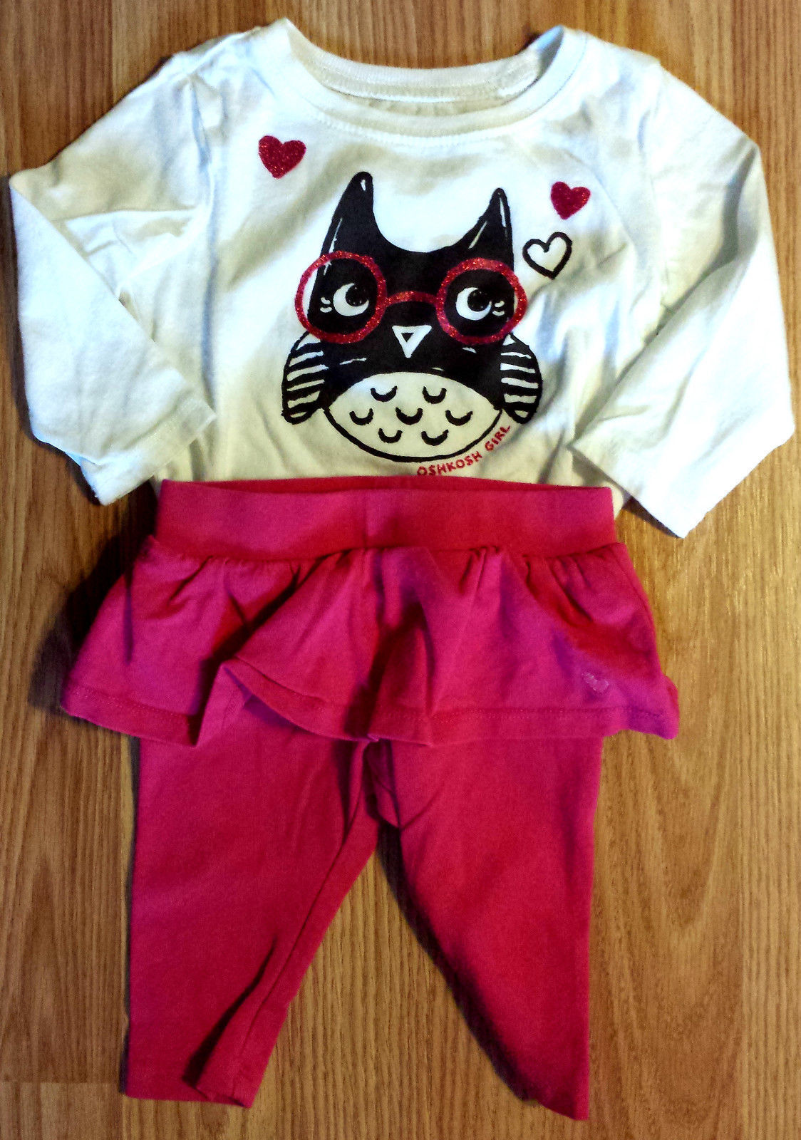 Girl's Size 6 M 3-6 Months Two Pc Osh Kosh White Glitter Owl Top, Skirted Capris
