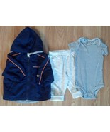 Boy's Sz 6-9 M Month 3 P Blue Top & White Carter's Pants, Vitamins Hoode... - $11.00