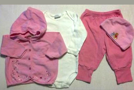 Lot of 4 Girl's Size 3/6 M Months Embroidered Sweater, Top Pants & Hat - $10.00