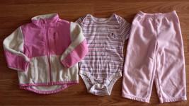 Girl's Size 12-18 M Month 3 Piece Pink Cream Fleece Jacket, Top & Carter's Pants - $10.00