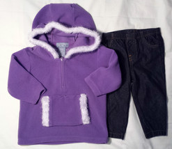 Girl's Size 6-9 M Months 2 Pc Purple Children's Place Hoodie Top, Carter's Pants - $10.50