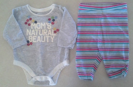 "Girl's Size 0-3 M Months 2 Pc Old Navy Outfit ""Mom's Natural Beauty"" Top & Pants - $9.00"