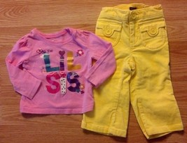 "Girl's Sz 12-18 M Month 2 Pc Pink Glitter ""Little Sis"" Place Top, Baby Gap Pants - $9.00"