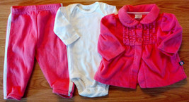 Girl's Size 3M Months 3 Piece Pink Carter's Fleece Jacket, White Top + P... - $9.00