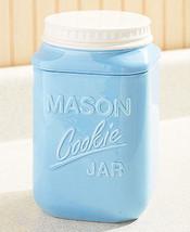 "Mason Cookie Ceramic Jar Aqua Blue Country Kitchen 9"" - $21.04"