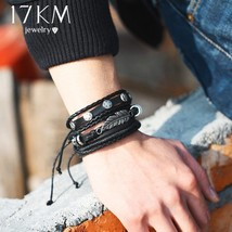 17KM® 5 pcs/set Fashion Leaves Owl Leather Bracelets Set For Men Women W... - $4.92+
