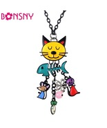 FREE Bonsny Long Chain Colorful French Cat Necklace - $0.00