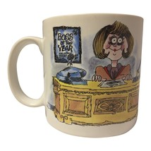 "Russ Berrie Big Eyed Woman at Desk ""Boss of the Year"" Coffee Mug Cup - $19.98"