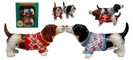 Atlantic Collectibles French Basset Hounds In Winter Sweater Magnetic Ce... - $13.85