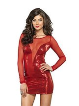 Leg Avenue Women's Deep-V Mini Dress, Red, Small - $29.15