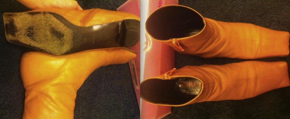 MIU MIU by Miuccia Prada brown LEATHER BOOTS pink box Made in Italy Euro 36 $499