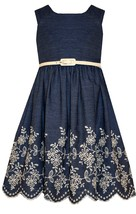 Bonnie Jean Little Girls 4-6X Blue Chambray Belted Embroidered Eyelet Hem Dress