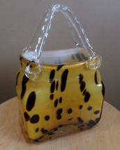 Vintage Gold GLASS LEOPARD Animal Print PURSE/ Handbag or Vase - $21.00