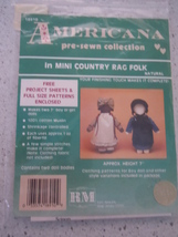 "Americana Country Rag Folk 7"" Doll Pattern New in Package - $1.99"