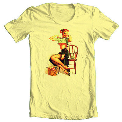 Pin Up Girl Knitting T shirt retro vintage rockabilly 100% cotton graphic tee