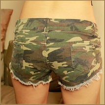 Low Waist Casual Canvas Ripped Denim Short Shorts Green Army Camo Jean Pants  image 3