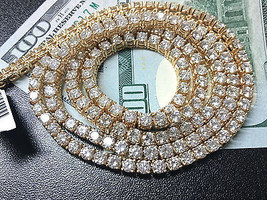 44.5 Carats Round White Diamond Tennis Chain Necklace in 14K Yellow Gold - $34,319.12