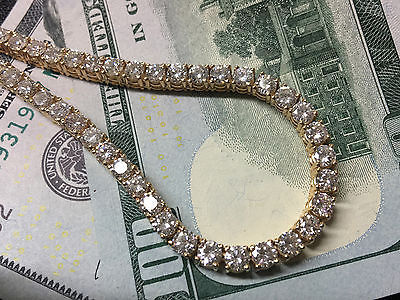 44.5 Carats Round White Diamond Tennis Chain Necklace in 14K Yellow Gold