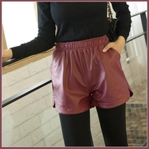 Red Wine Soft Sheepskin Faux Leather Shorts Gathered Elastic Waist and Pockets