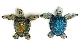 Decorative Sea Turtle Magnets, Set of 2, Blue and Green - Refrigerator o... - $21.58