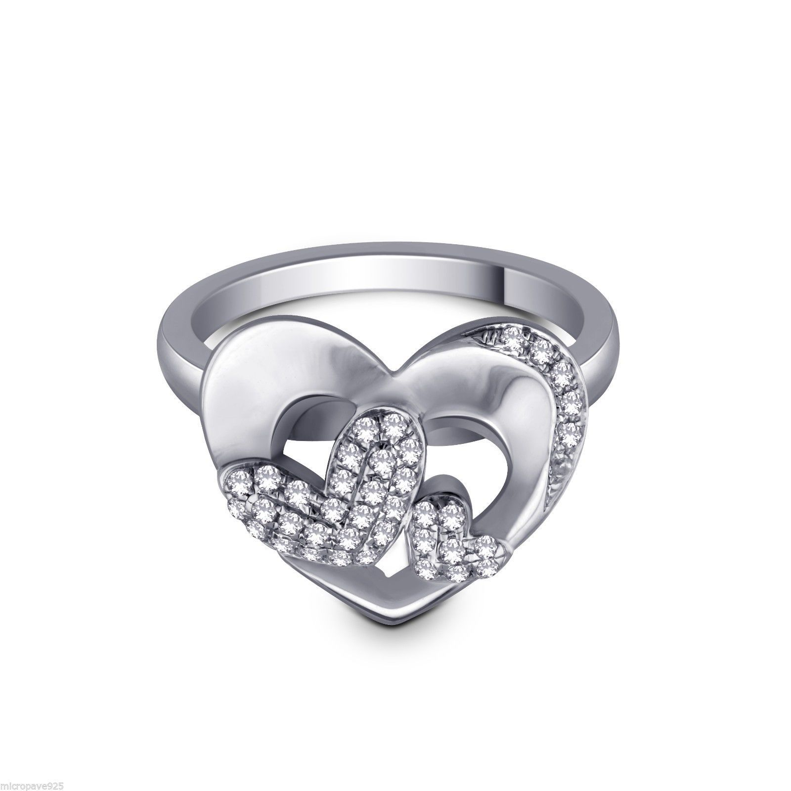 Heart Design 925 Sterling Silver Ring With Pave Pave Set Cubic Zirconia Stones