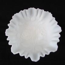 """VTG. Imperial Glass White Satin Milk Glass Bowl Embossed Roses Crimped Edge 9"""" - $21.78"""