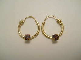 14K Gold Filled Austrian Crystal Birthstone Hoop Earrings (February) Ite... - $14.95