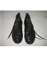 Men's PRADA Casual Black Leather Comfort Shoes w/ Zip Top & Hidden Lace-... - $55.00