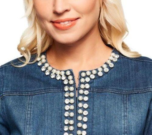 Joan Rivers Pearl Crystal Embellished Denim Jacket 3 4