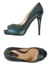 NWB LERRE Soft Leather Open Toe Stiletto Pumps Size 8 Dark Green Metallic  - $519.75