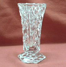 Vintage Lead Crystal Clear Diamond Pattern Miniature Vase - $7.50