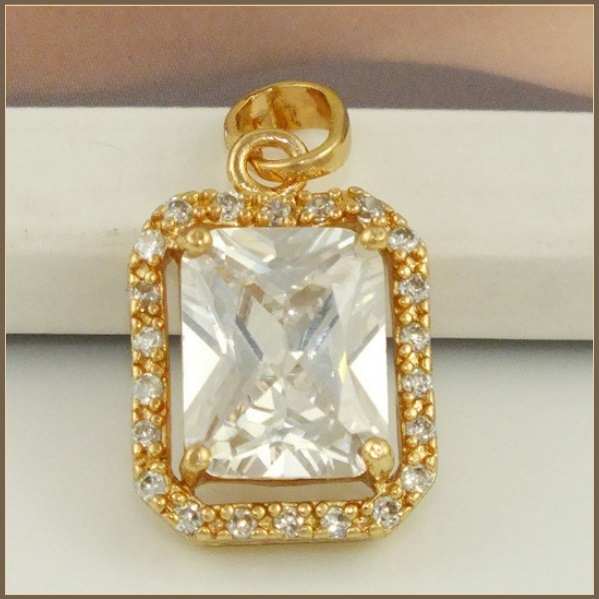 Rectangle 14K Rose Gold Filled Emerald Cut Sparkling Clear Cubit Zircon Pendant