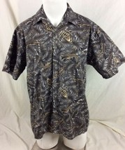 Campia Moda Mens Shirt Medium Brown Gray Black Hawaiian Outrigger Palm - $11.87