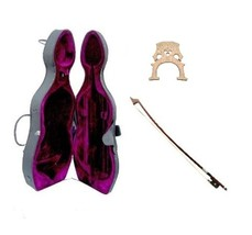 Merano 3/4 Size Cello Hard Case with Two Wheels+Free Bow+Bridge - $145.99