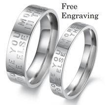 Free engraving stainless steel 2 pcs couples ring set, love letter rings - $687,07 MXN