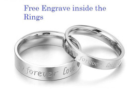 Free Engraving stainless steel 2 pcs couples ring set, forever love ring... - $687,07 MXN